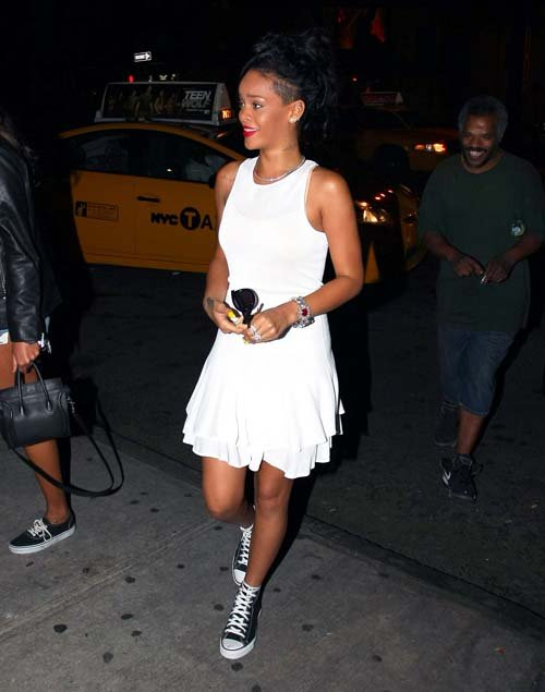 Rihanna-white-A.L.C.-Lena-Flare-Dress-Converse-Chuck-Taylor-Sneakers-nyc-2
